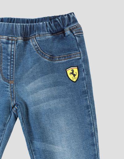 Scuderia Ferrari Online Store - Jeggings bambina in cotone stretch con Scudetto Ferrari - Jeans