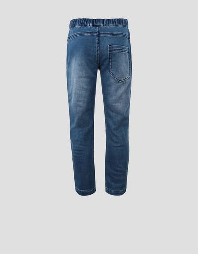Children's denim-effect stretch fleece pants