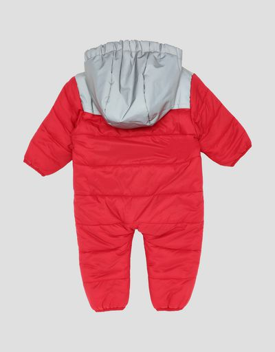 Infants' padded suit with reflective hood