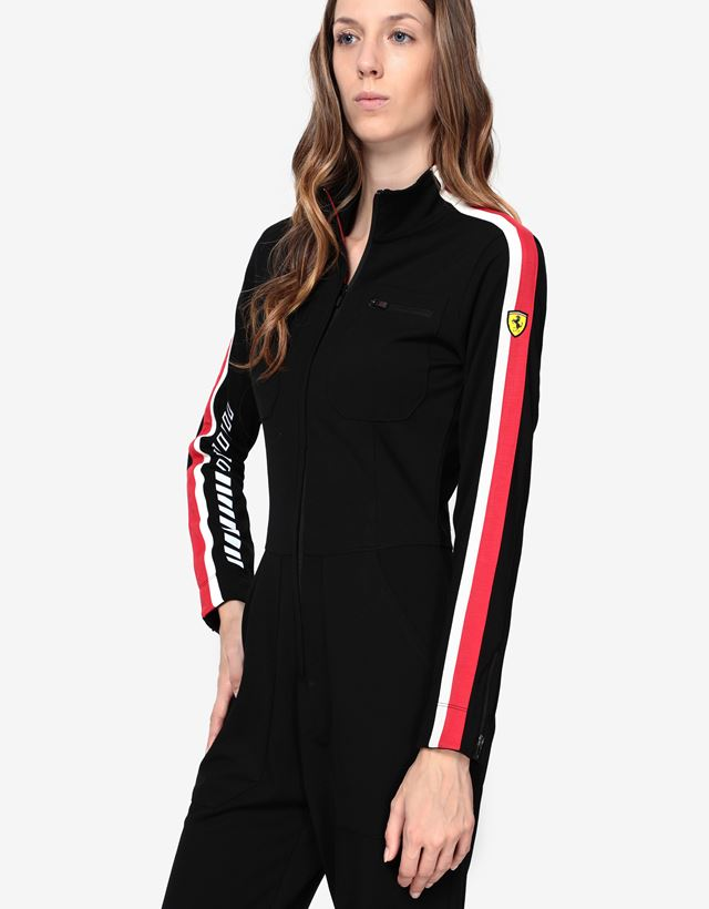 Scuderia Ferrari Online Store - Women's Milano rib jumpsuit with LIMITLESS print - Jumpsuits
