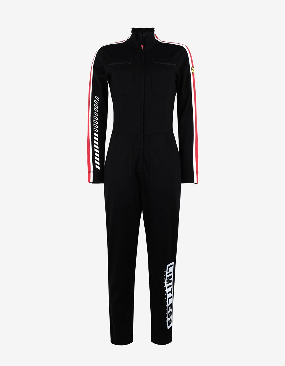 Scuderia Ferrari Online Store - Women's jumpsuit in Milano rib with LIMITLESS print - Jumpsuits