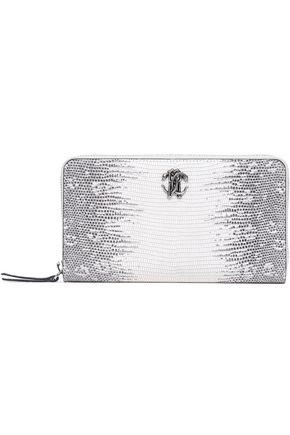 ROBERTO CAVALLI Logo-embellished snake-effect leather wallet