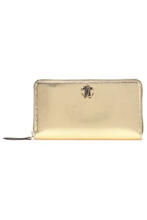 ROBERTO CAVALLI Logo-embellished metallic cracked-leather continental wallet