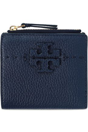 TORY BURCH Logo-embellished textured-leather wallet