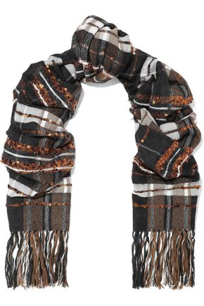 BRUNELLO CUCINELLI Fringed sequin-embellished checked jacquard scarf