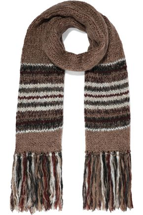 BRUNELLO CUCINELLI Fringed bead-embellished striped mohair-blend scarf