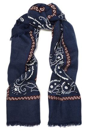 SANDRO Frayed printed wool scarf