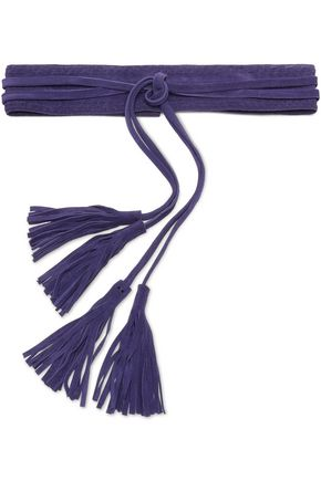 MAJE Tassel-trimmed braided suede belt