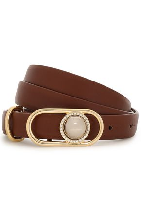 MAJE Faux pearl and crystal-embellished leather belt