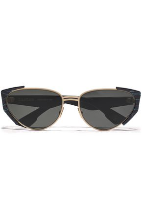 ZANZAN Cat-eye acetate and gold-tone sunglasses
