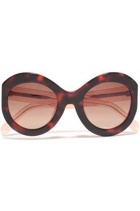 ZANZAN نظارات شمسية بإطار دائري من الأسيتات بنقوش السلحفاة