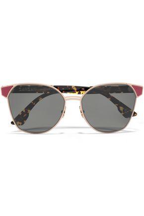 ZANZAN Cat-eye gold-tone and tortoiseshell acetate sunglasses