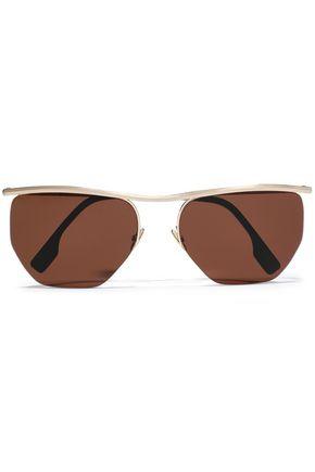ZANZAN Paninaro D-frame gold-tone sunglasses
