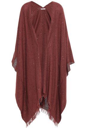 BRUNELLO CUCINELLI Fringe-trimmed cashmere and silk-blend wrap
