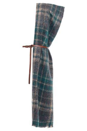BRUNELLO CUCINELLI 装飾付き ほつれ加工 チェックアルパカ&ウール混 スカーフ