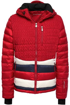 PERFECT MOMENT Matelassé and quilted striped shell hooded down jacket