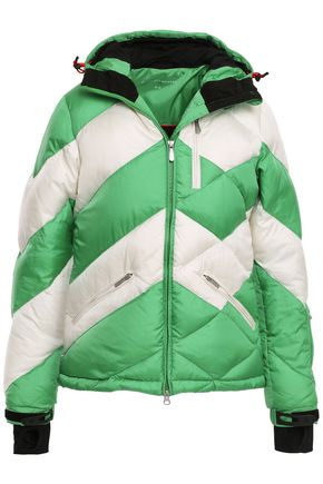 PERFECT MOMENT Quilted striped shell hooded down jacket