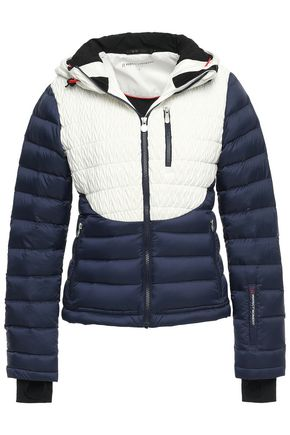 PERFECT MOMENT Matelassé and quilted shell hooded down jacket