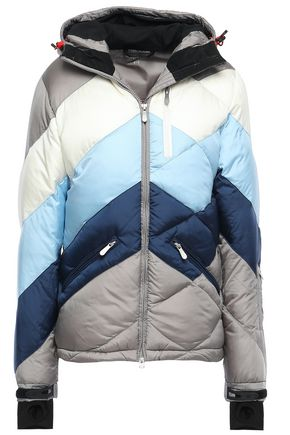 PERFECT MOMENT Quilted color-block shell hooded down jacket