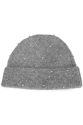 SANDRO Crystal-embellished mélange knitted beanie