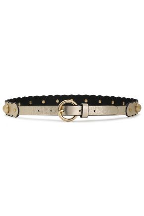 SANDRO Scalloped studded metallic textured-leather belt