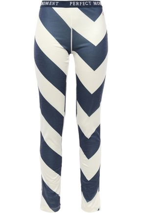 PERFECT MOMENT Striped stretch-jersey leggings