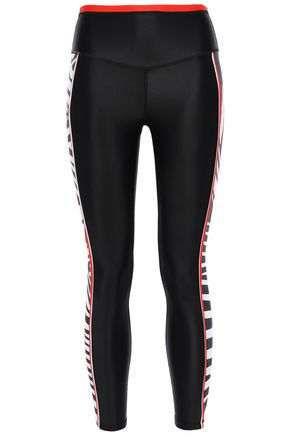 P.E NATION Stealing Home cropped striped stretch leggings