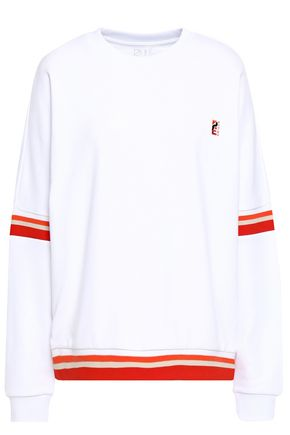 P.E NATION Altitude embroidered striped French cotton-terry sweatshirt