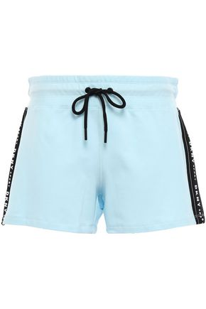 DKNY Printed French cotton-blend terry shorts