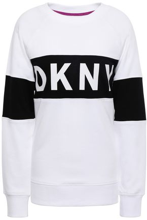 DKNY Two-tone printed French cotton-blend terry sweatshirt