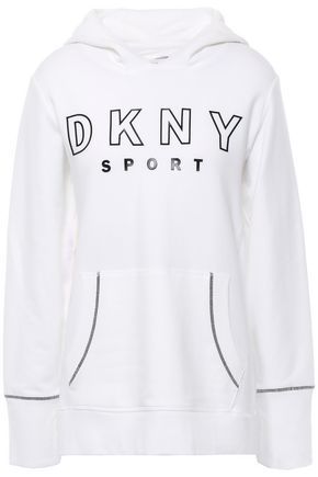 DKNY Embossed French cotton-blend terry hooded sweatshirt