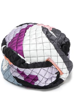 EMILIO PUCCI Wrap-effect printed quilted silk-blend satin turban