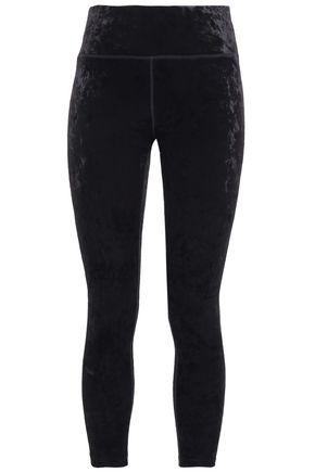 DKNY Cropped stretch-velvet leggings