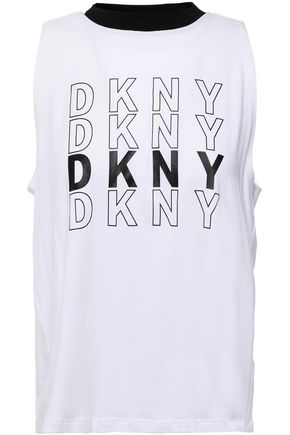DKNY Printed stretch cotton and modal-blend jersey tank