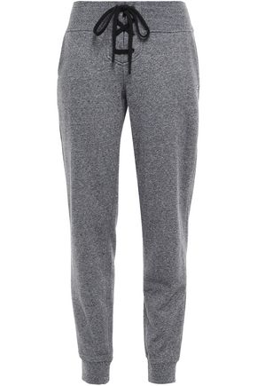 DKNY Printed mélange French cotton-blend terry track pants