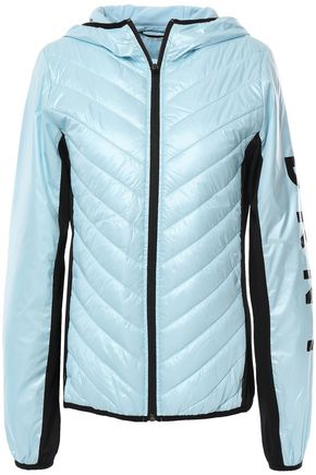 DKNY Jersey-paneled printed quilted shell down jacket