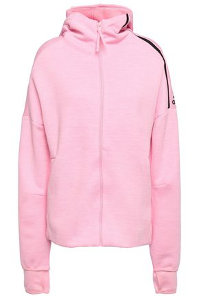 ADIDAS Mélange jersey hooded track jacket