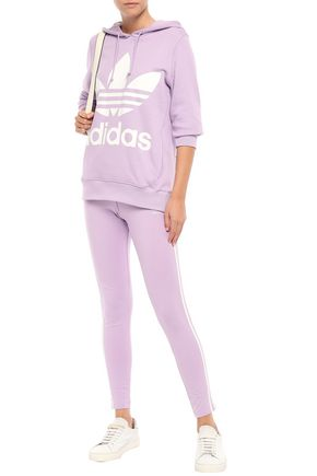 Adidas Originals Tops ADIDAS ORIGINALS WOMAN PRINTED FRENCH COTTON-TERRY HOODIE LILAC