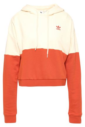 ADIDAS ORIGINALS Cropped two-tone French cotton-blend terry hoodie
