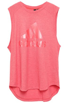 ADIDAS Printed mélange stretch-cotton jersey tank