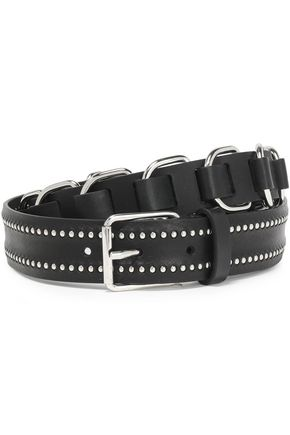 IRO Buckle-embellished studded braided-leather belt