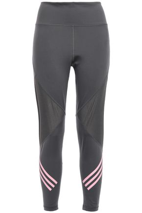 ADIDAS Cropped mesh-paneled striped stretch leggings