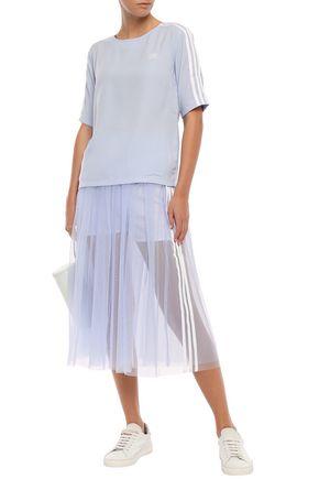 Adidas Originals T-shirts ADIDAS ORIGINALS WOMAN STRIPED CREPE T-SHIRT SKY BLUE