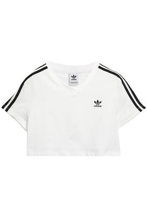 ADIDAS ORIGINALS Cropped embroidered stretch-jersey T-shirt