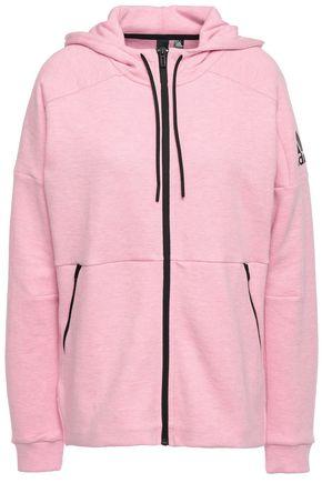 ADIDAS Mélange printed cotton-blend jersey hoodie