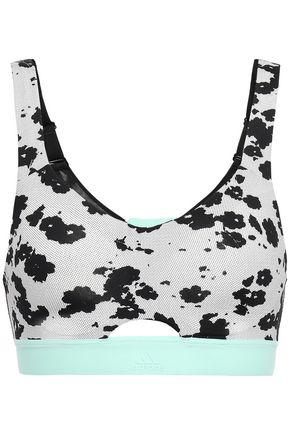 ADIDAS Mesh-trimmed floral-print stretch sports bra