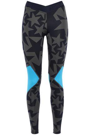 ADIDAS Mesh-paneled printed stretch leggings