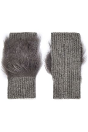 KARL DONOGHUE Shearling-paneled ribbed cashmere fingerless gloves
