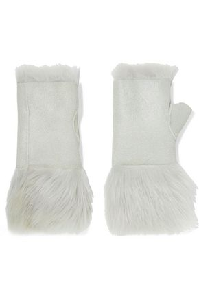 KARL DONOGHUE Reversible nubuck and shearling fingerless gloves