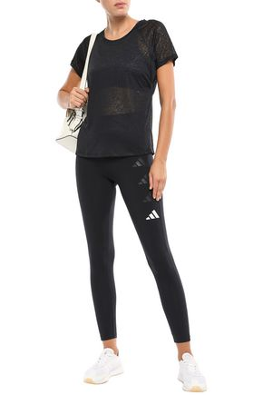 Adidas Originals T-shirts ADIDAS WOMAN CUTOUT SLUB JERSEY T-SHIRT BLACK